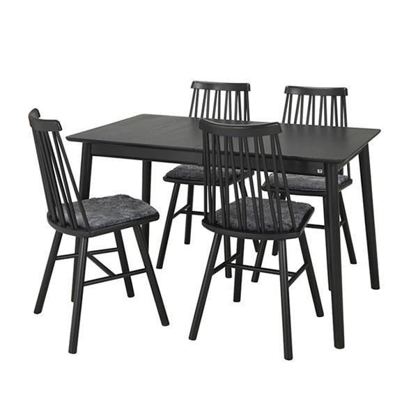 Hans K ZigZag-ruokapöytä ja -tuoli musta