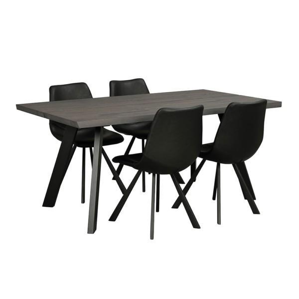 Rowico Fred-ruokapöytä 170 cm savunruskea Auburn-tuoli