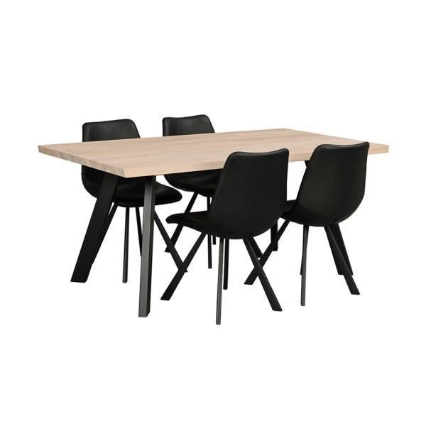Rowico Fred-ruokapöytä 170 cm valkopesty tammi Auburn-tuoli