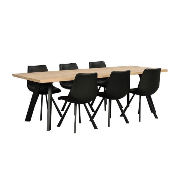 Rowico Fred-ruokapöytä 240 cm valkopesty tammi Auburn-tuoli
