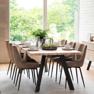 Rowico Fred-ruokapöytä valkopesty tammi Sierra-tuoli ruskea